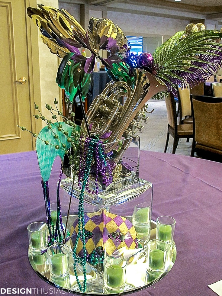 Mardi Gras decorations and centerpieces