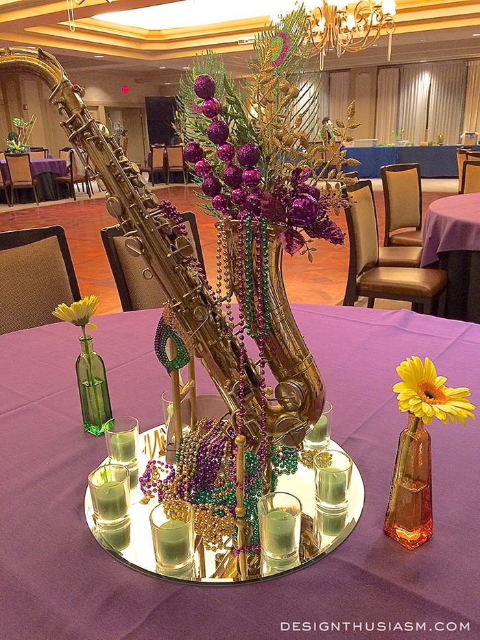 Decorating with mardi gras centerpieces