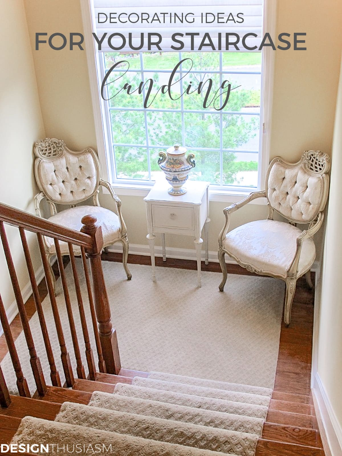 Staircase decorating ideas french chairs and a petit table