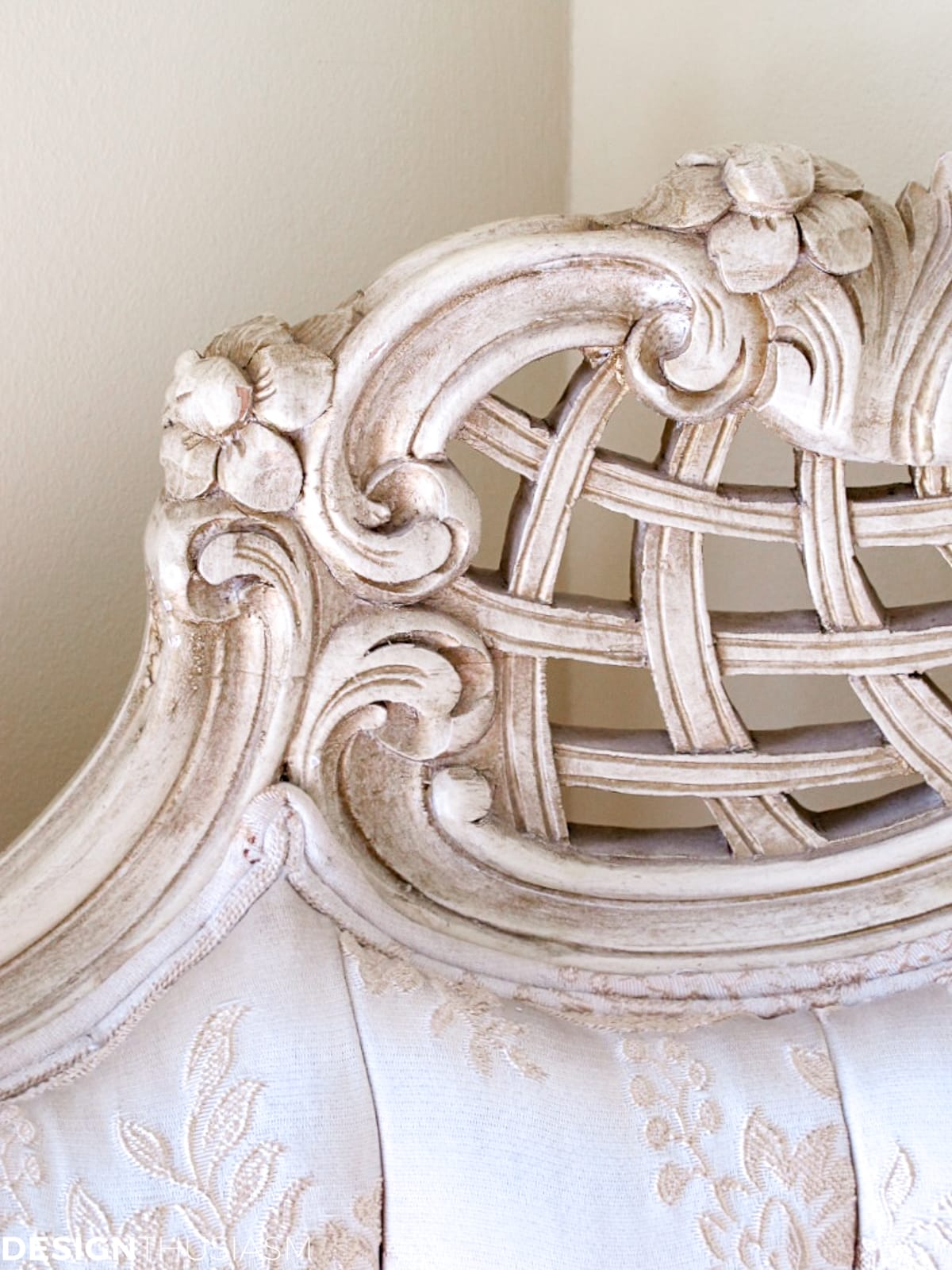 Staircase decorating ideas french chair closeup