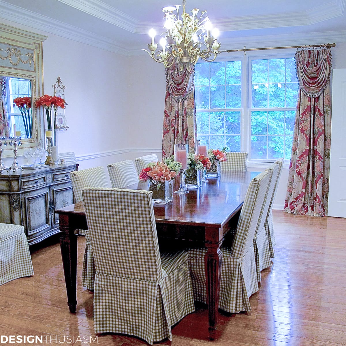 Dining room inspiration   Adding a rosy glow with blush pink and florals - designthusiasm.com