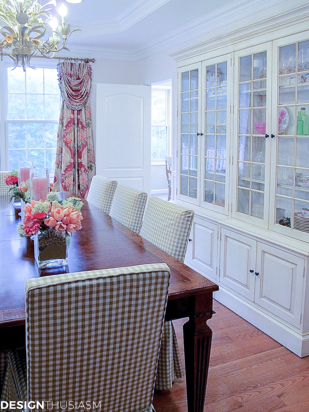 Dining room inspiration   Adding a rosy glow with blush pink - designthusiasm.com