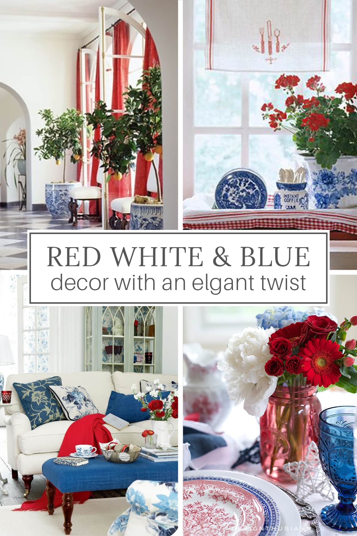 elegant red white and blue patriotic decor