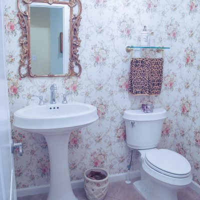 Transforming a Bland Powder Room into Lovely French Bathroom