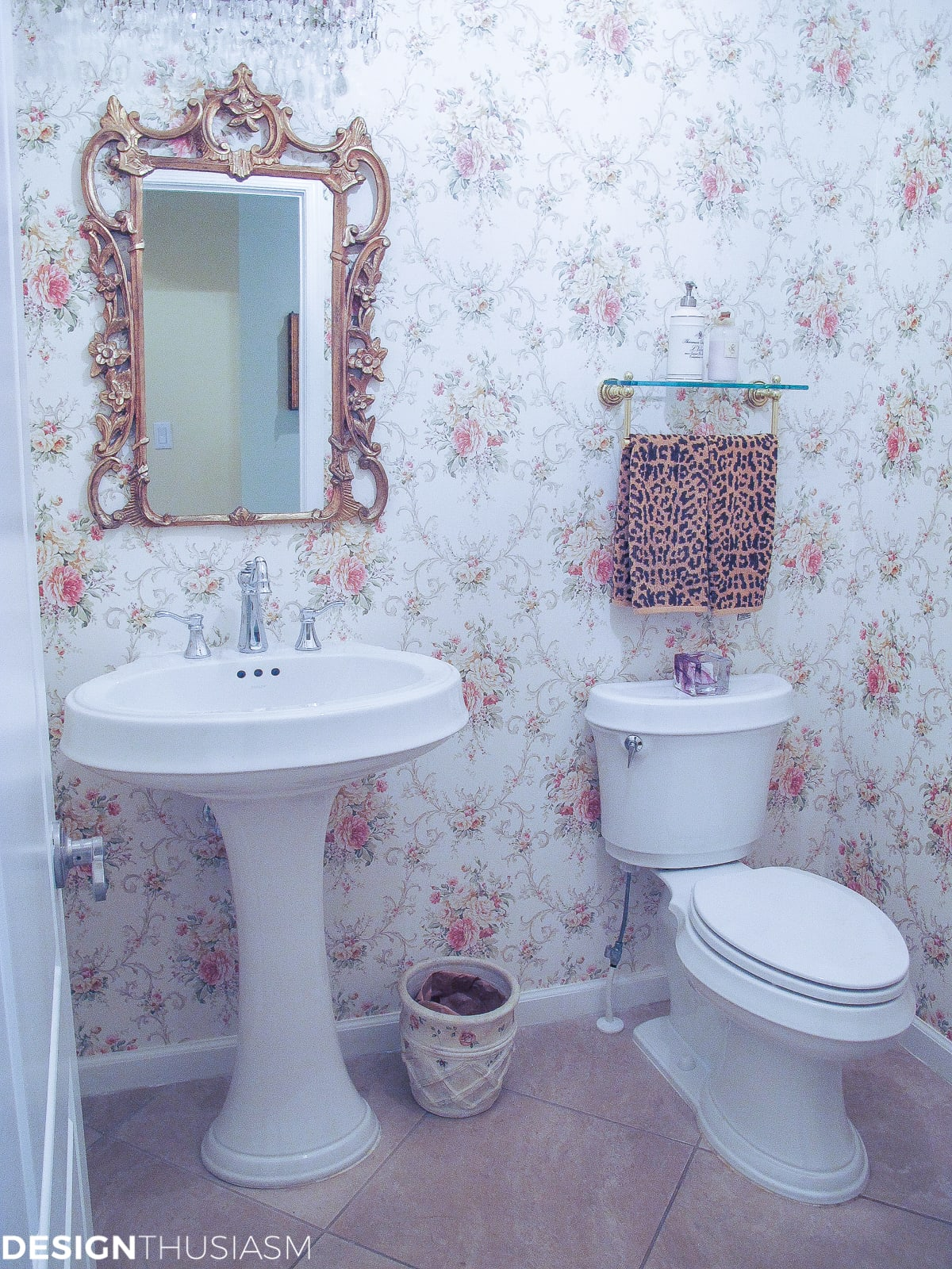 Transforming a Bland Powder Room into Lovely French Bathroom | Designthusiasm.com