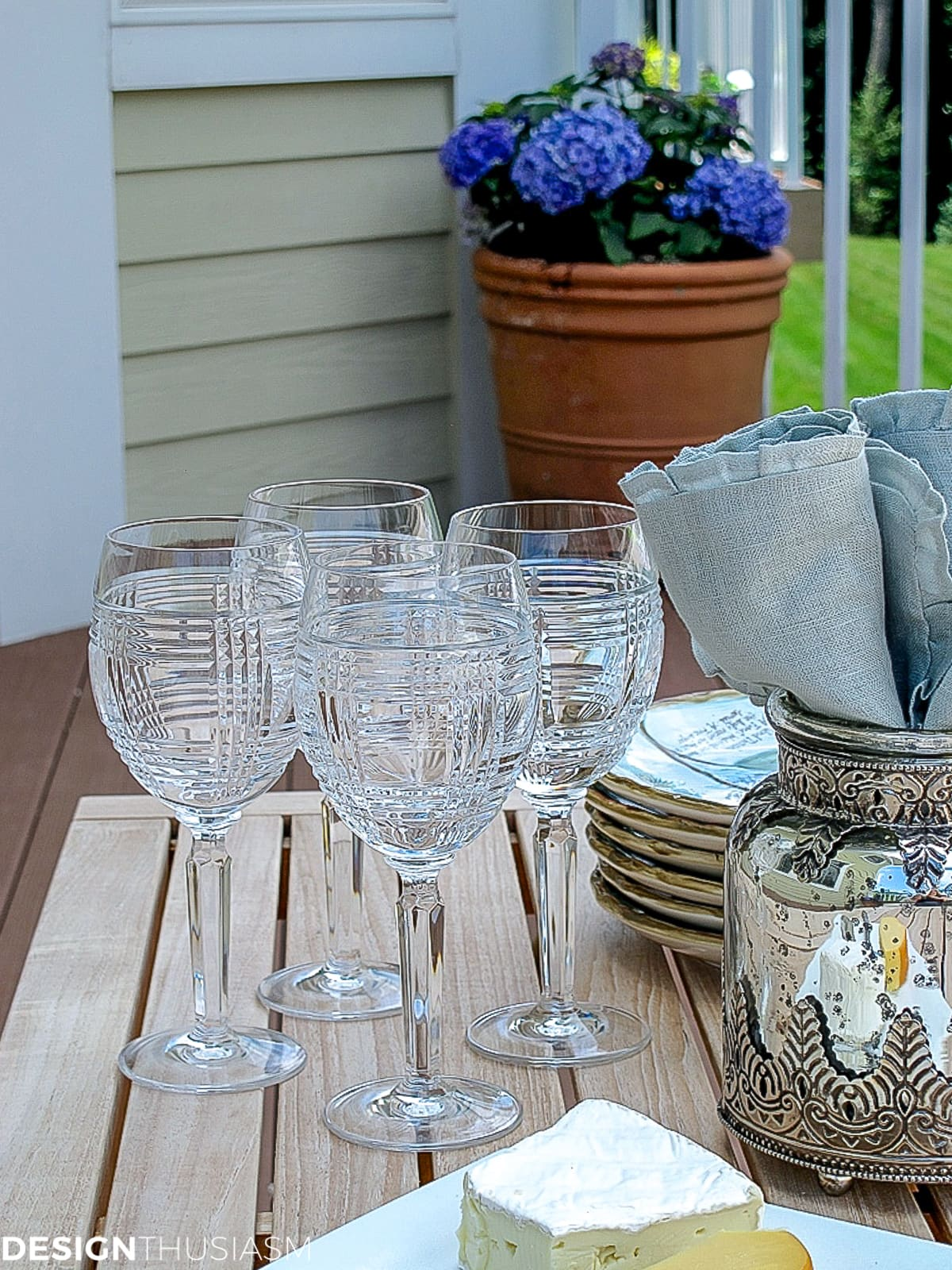 wine goblets on the patio