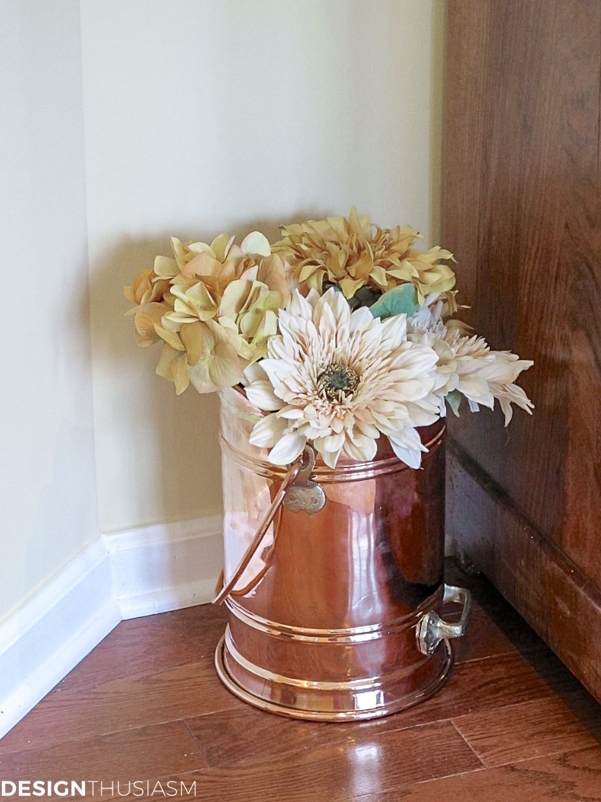 copper planter living room arrangement