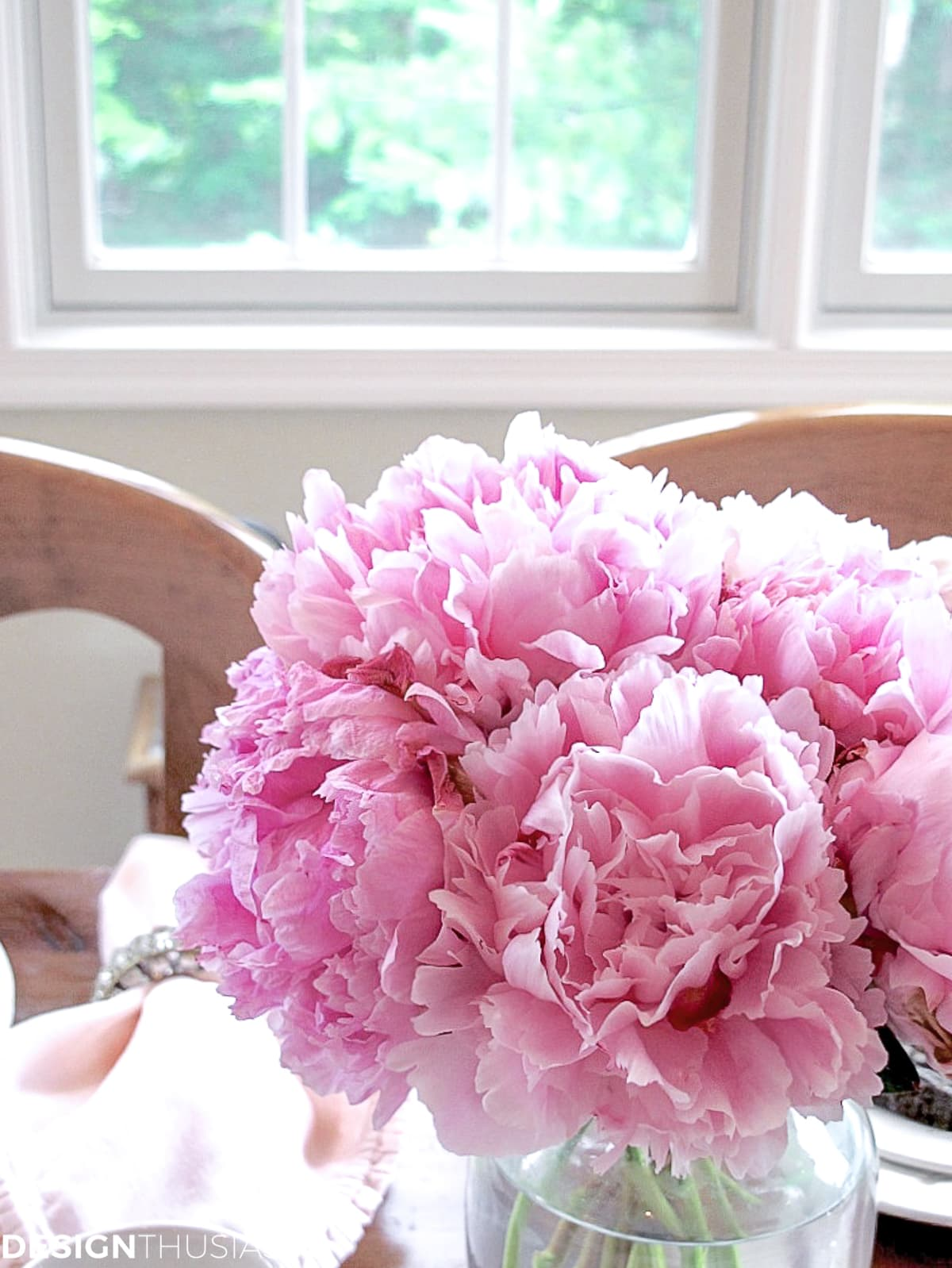 peonies centerpiece for lunch