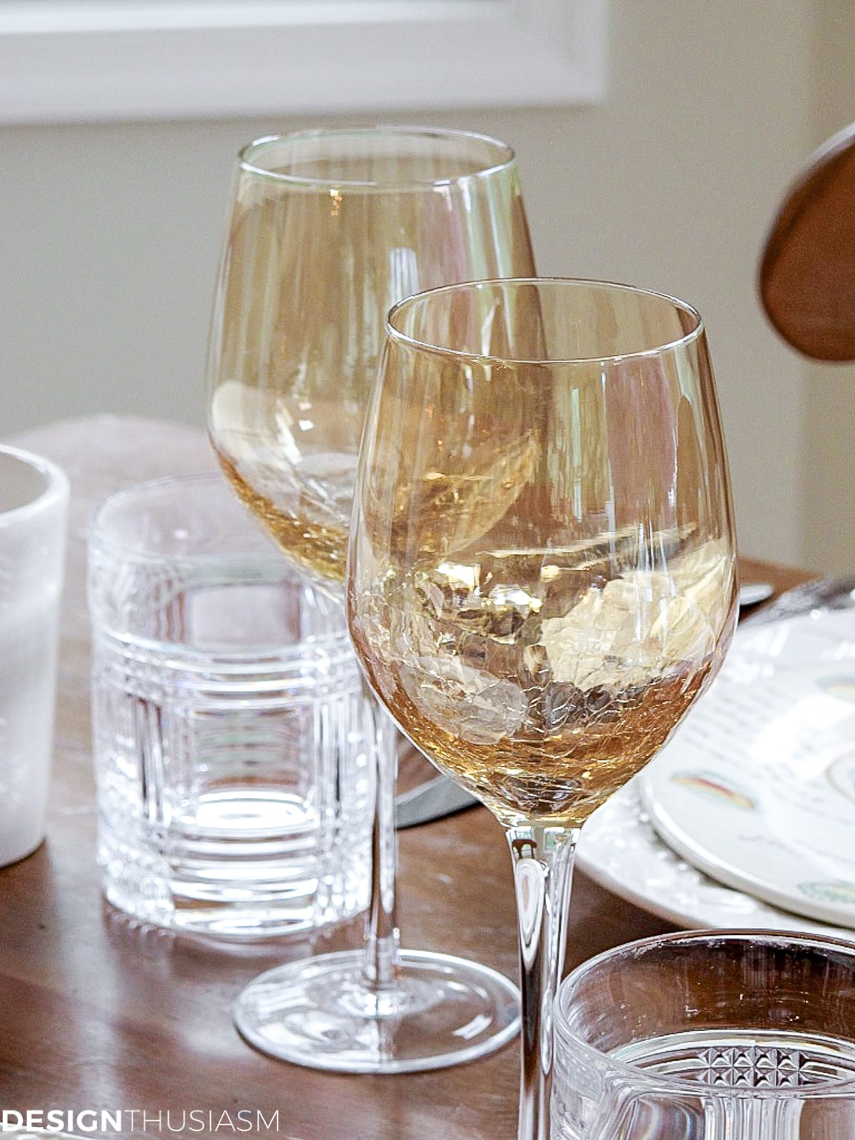 wine goblets for table setting for lunch