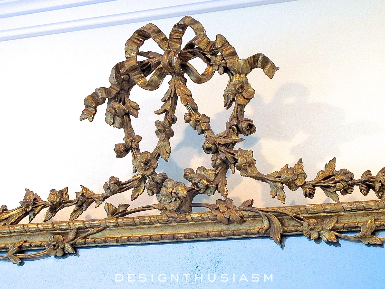 beautiful detail of french antique mirror