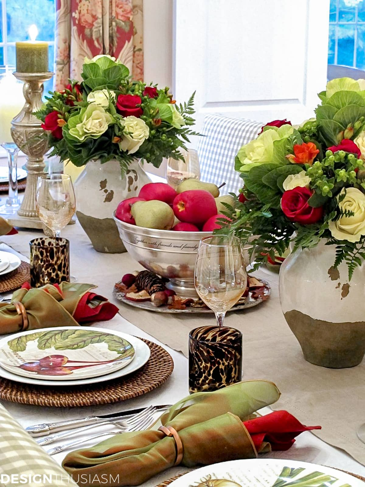 fall table setting with apples and pears