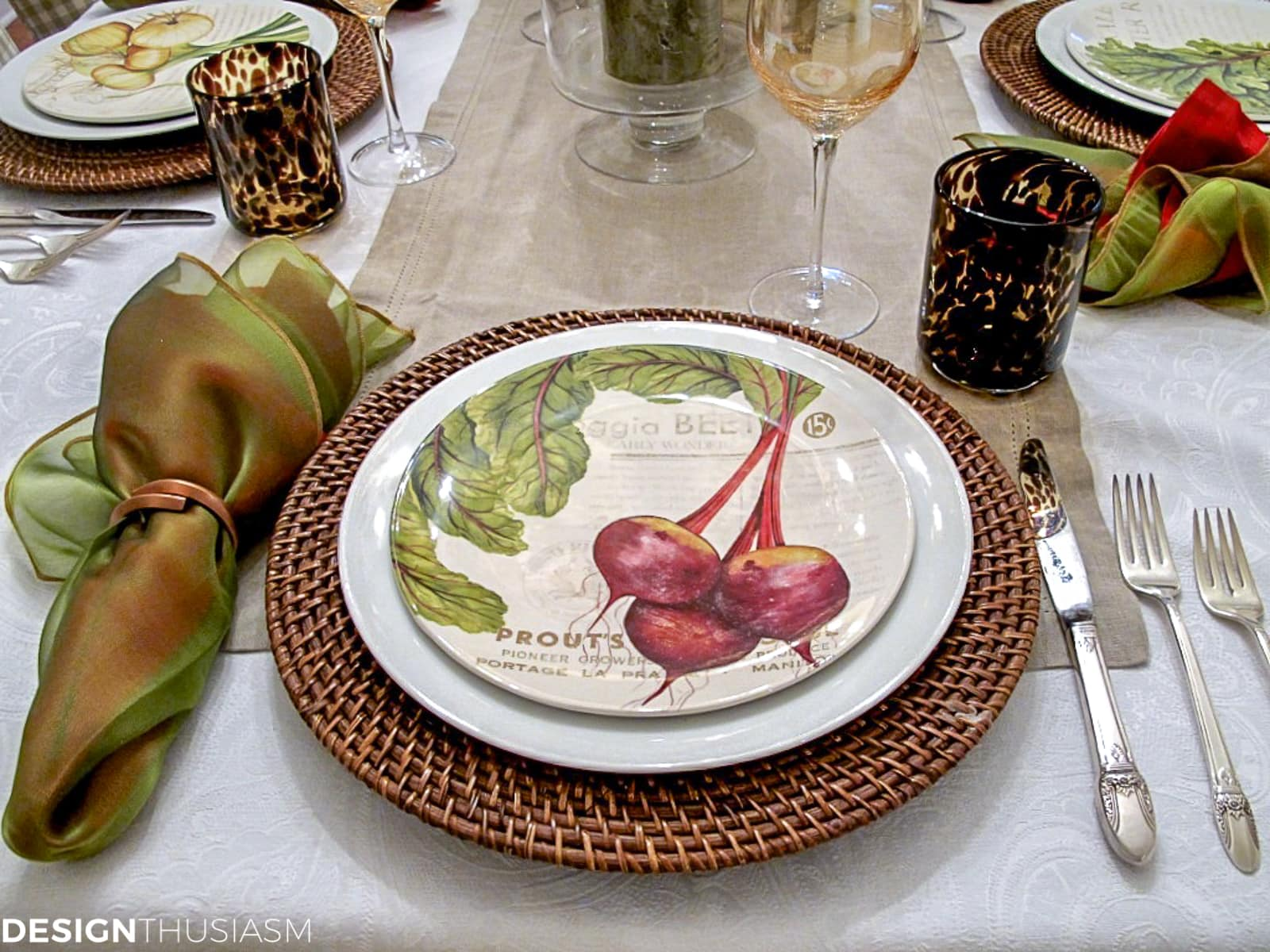fall table setting harvest plates