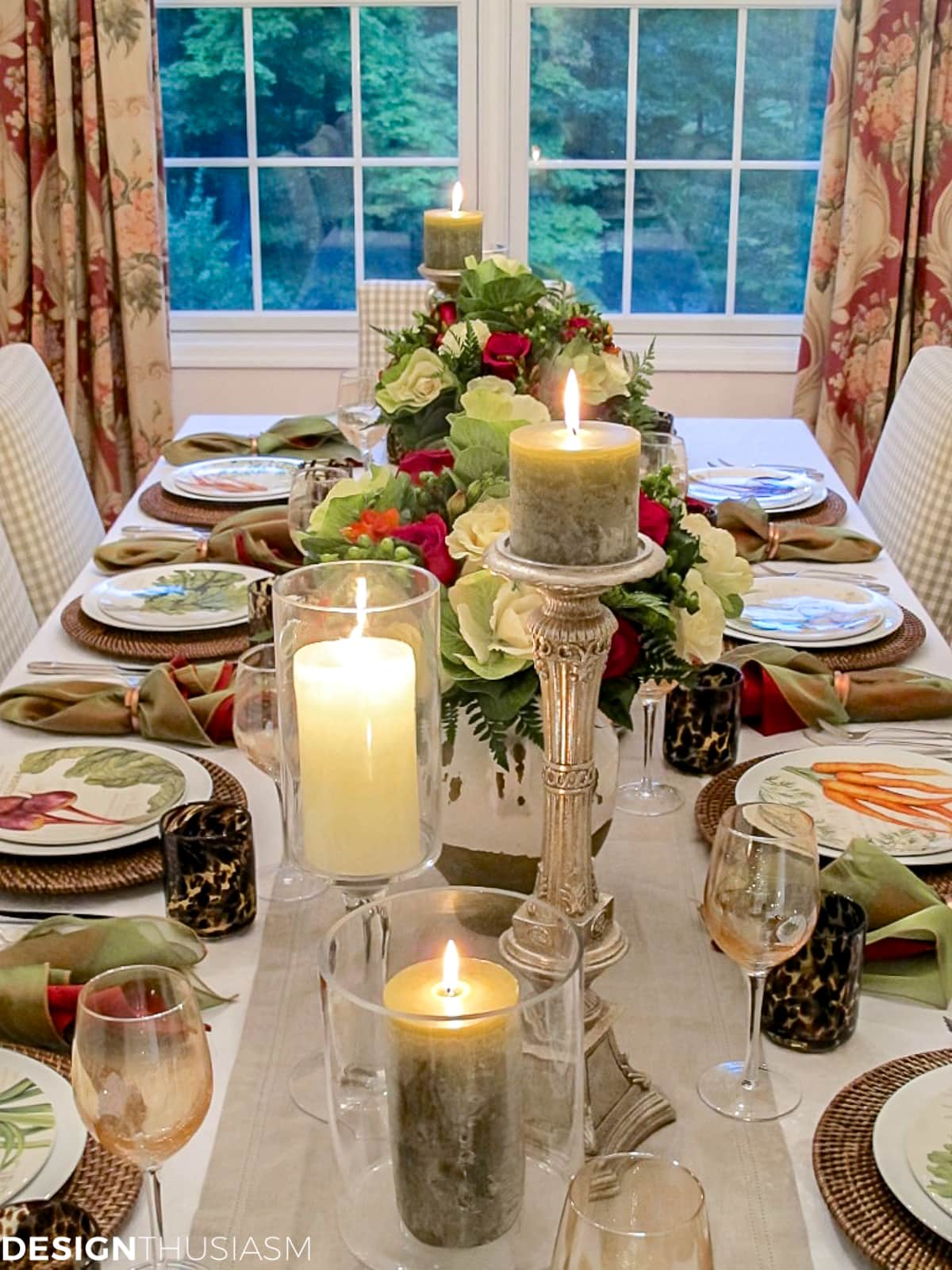 fall table setting with candles