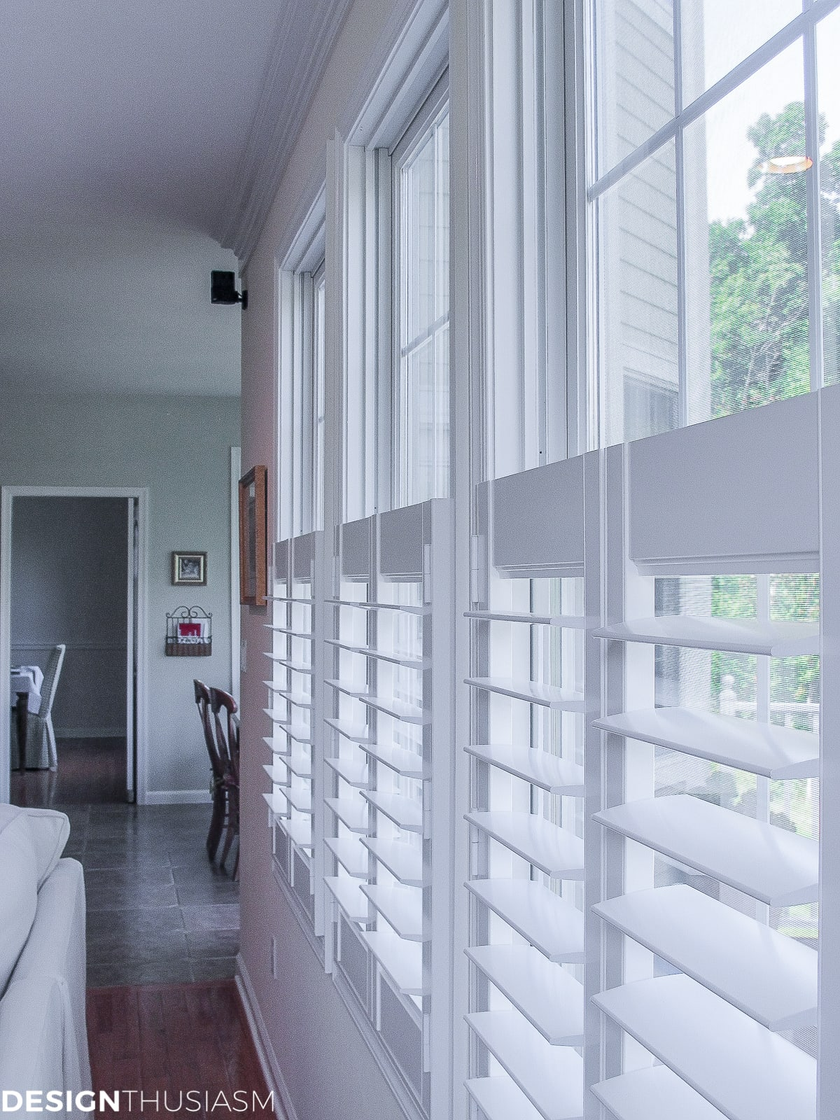 family room plantation shutters