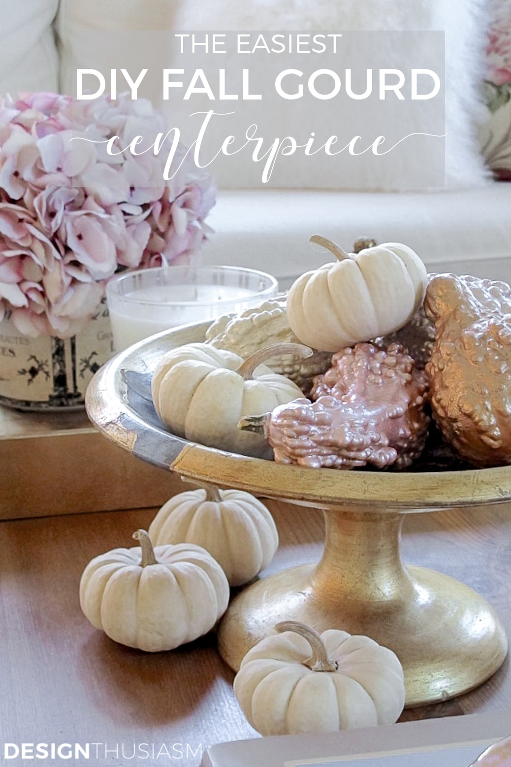 DIY fall centerpiece with painted gourds