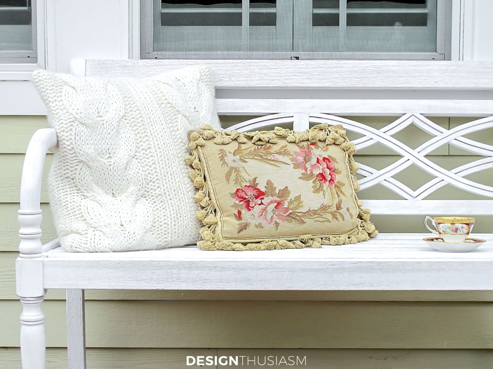 fall patio bench with pillows