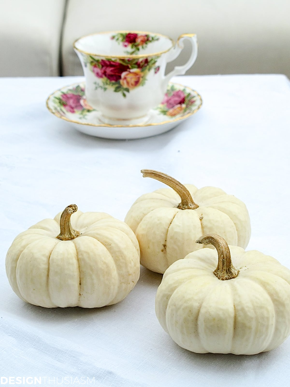 outdoor fall decorations with white baby boo pumpkins