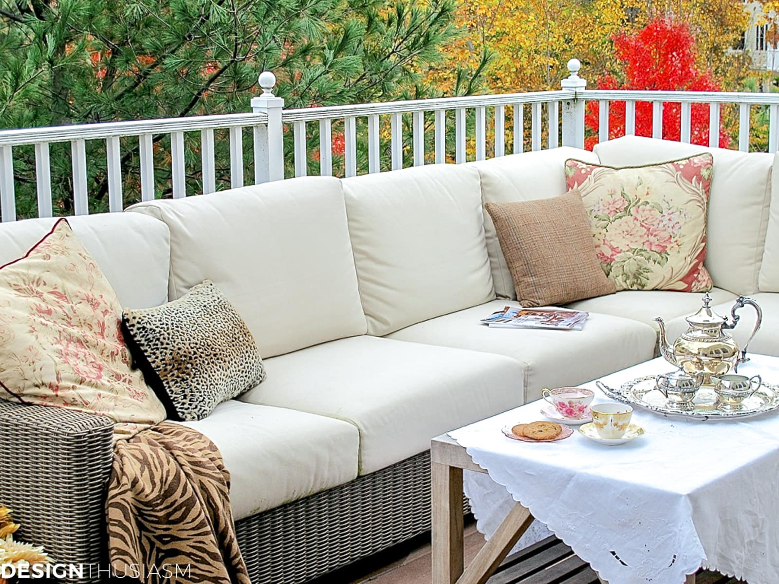outdoor fall decorations on a fall patio
