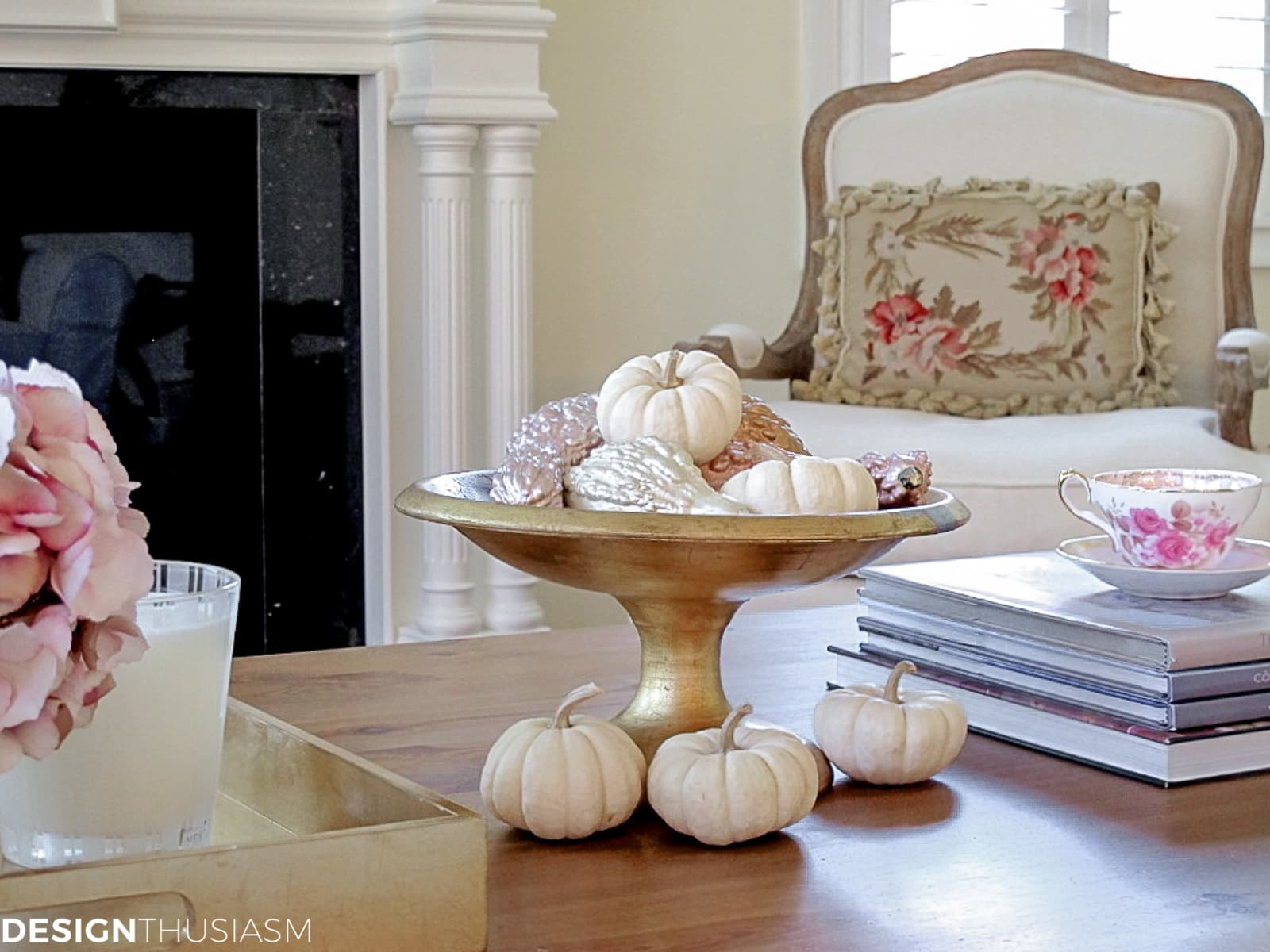 DIY fall centerpieces in the den