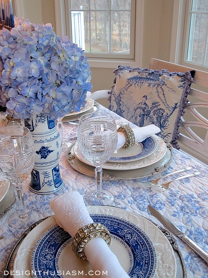french blue and white holiday table setting