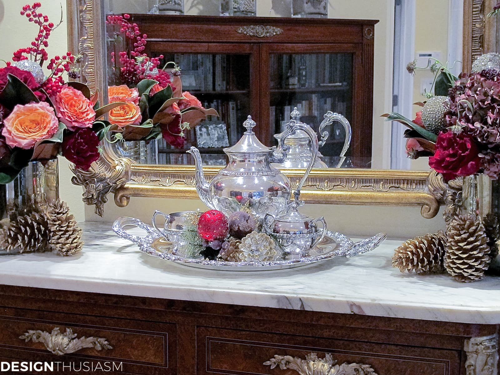 holiday decorating with Christmas flower arrangements