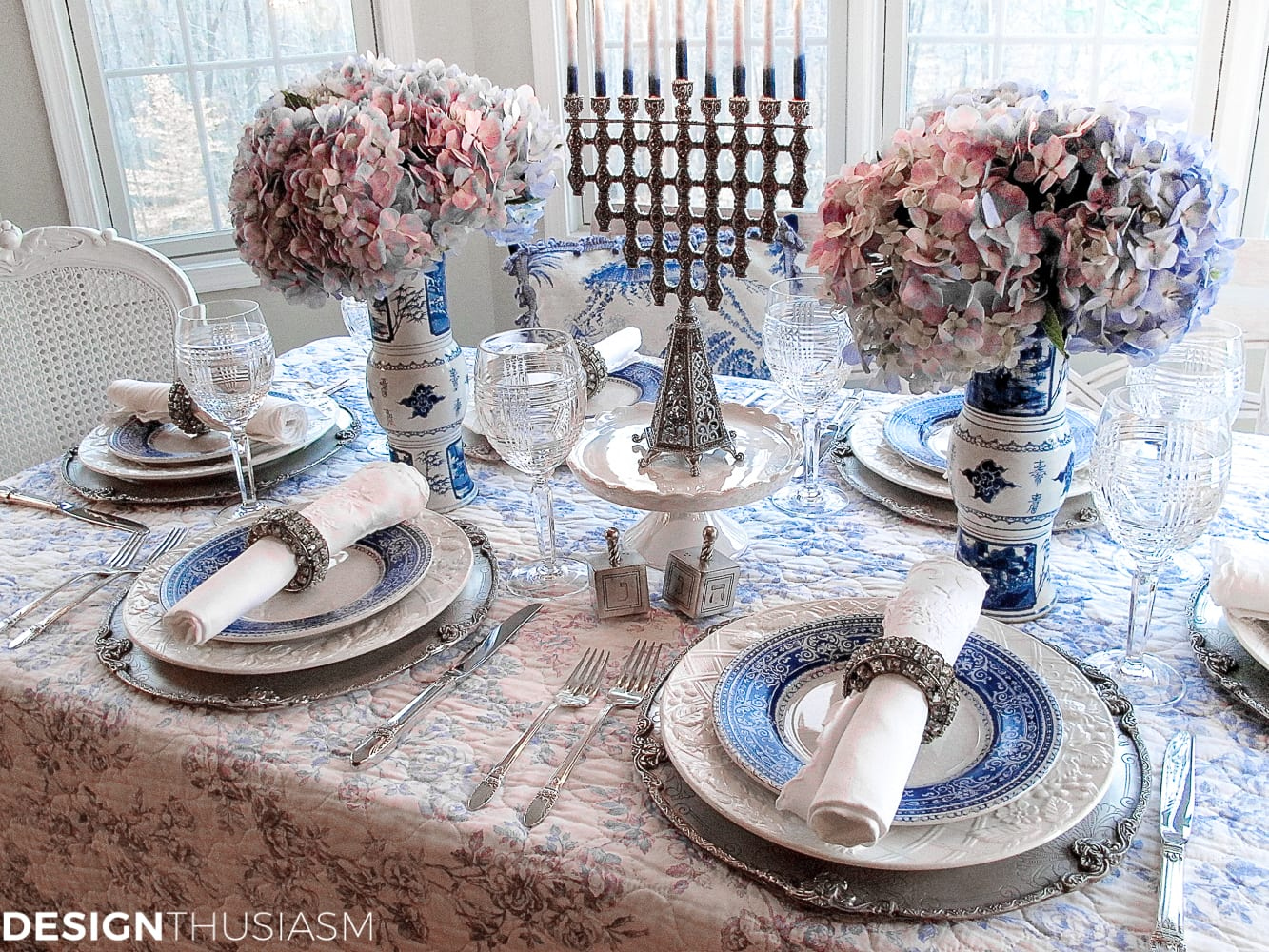 French Toile in a Blue and White Holiday Table Setting - Designthusiasm.com & French Blue and White Holiday Table Setting with Toile