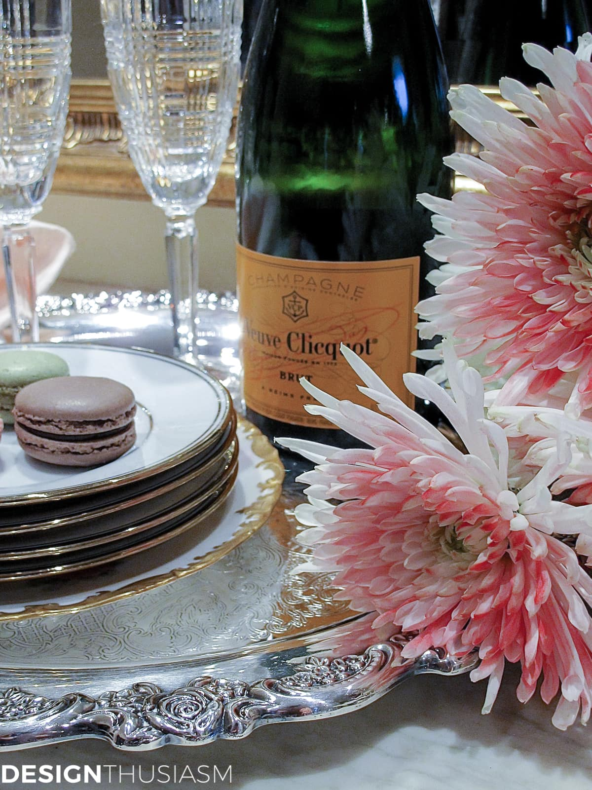 Rose Gold New Year's Eve Table Setting Designthusiasm.com