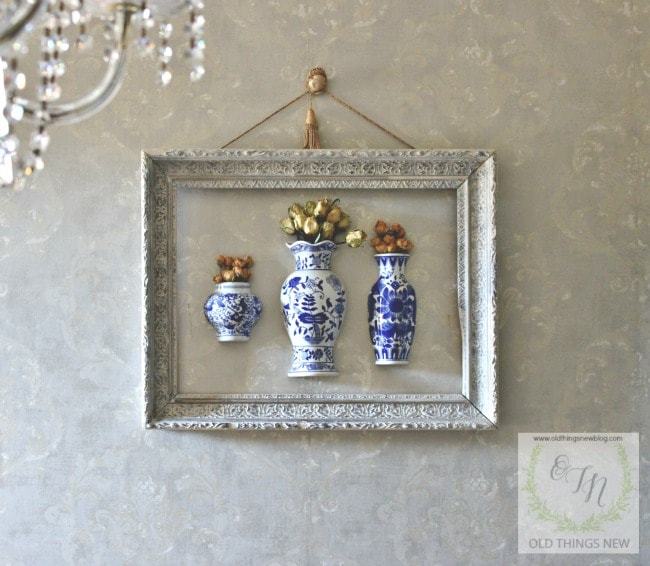 Blue & White Hanging Wall Vases