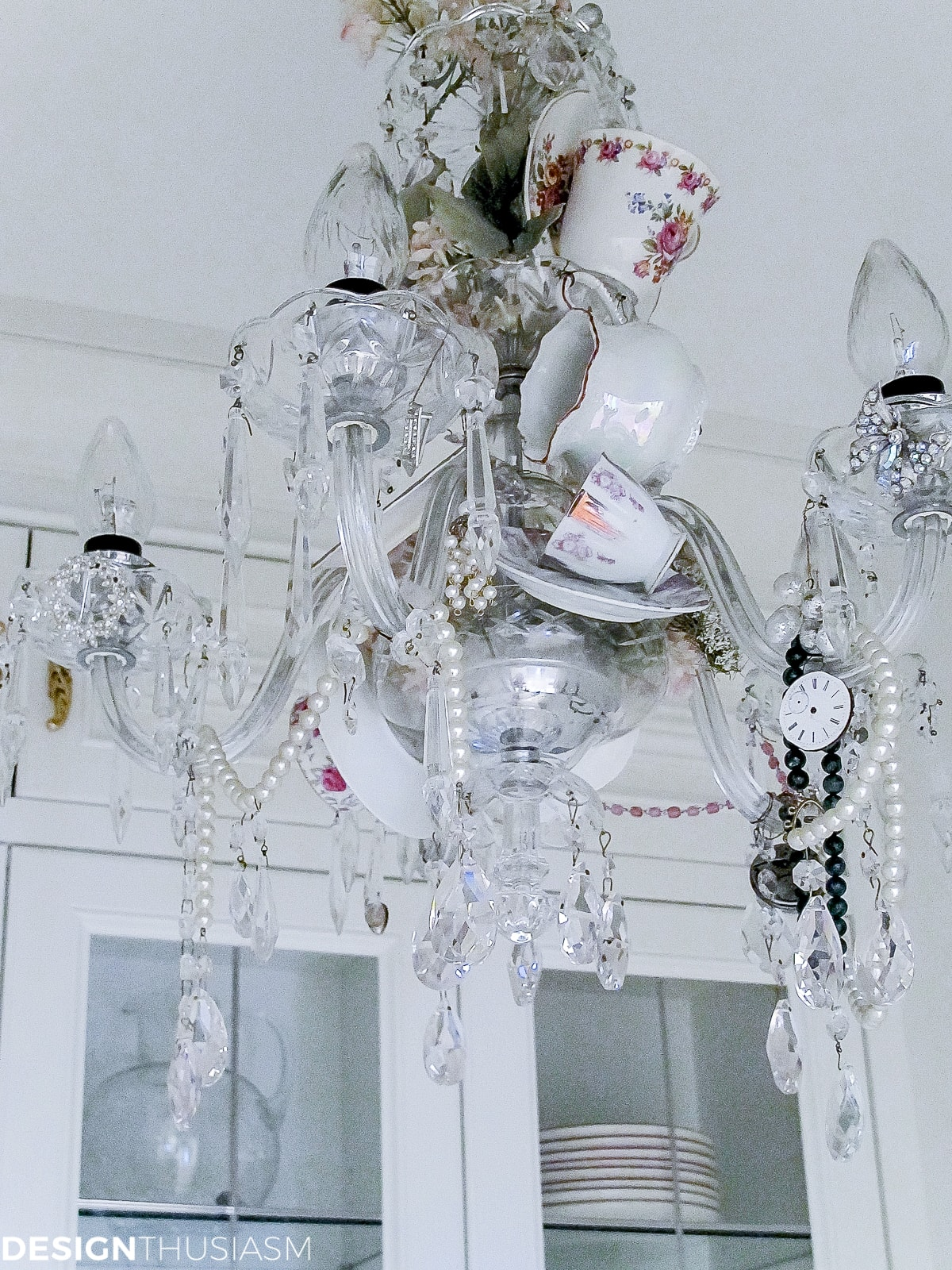 butler's pantry teacup chandelier