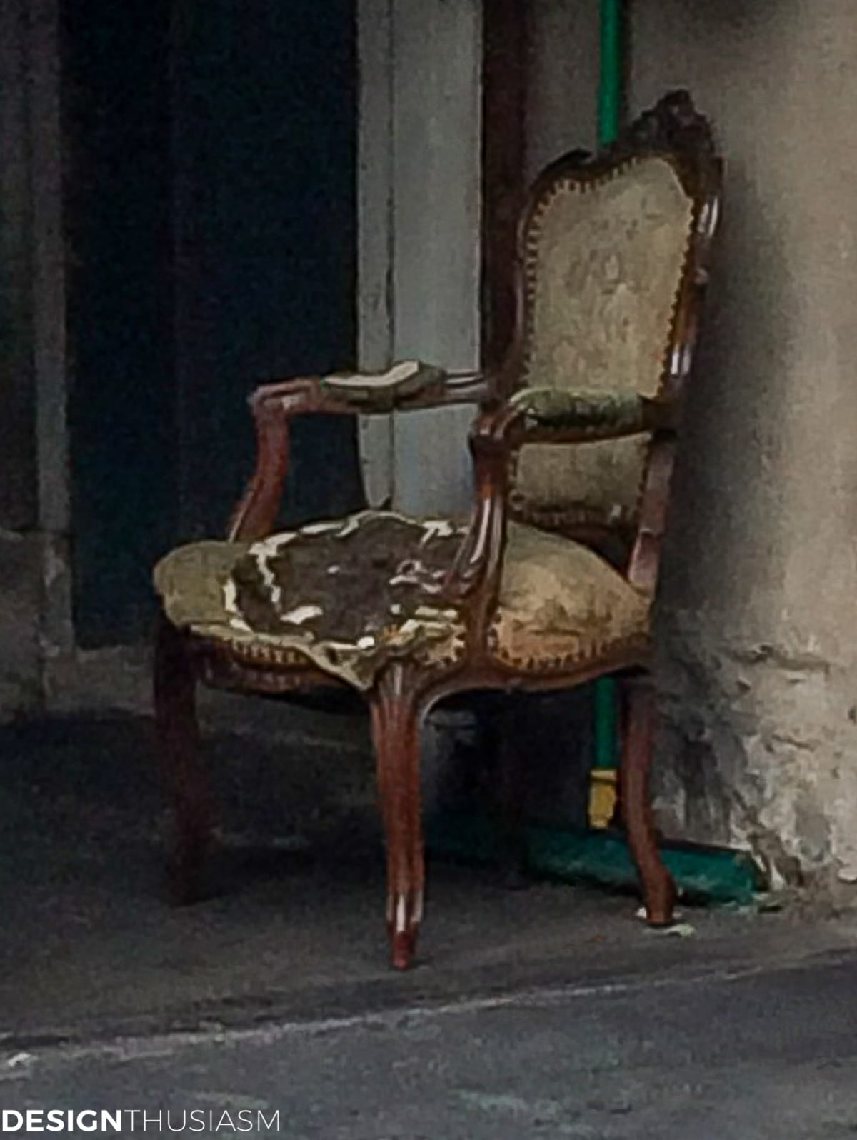 tattered vintage French chair