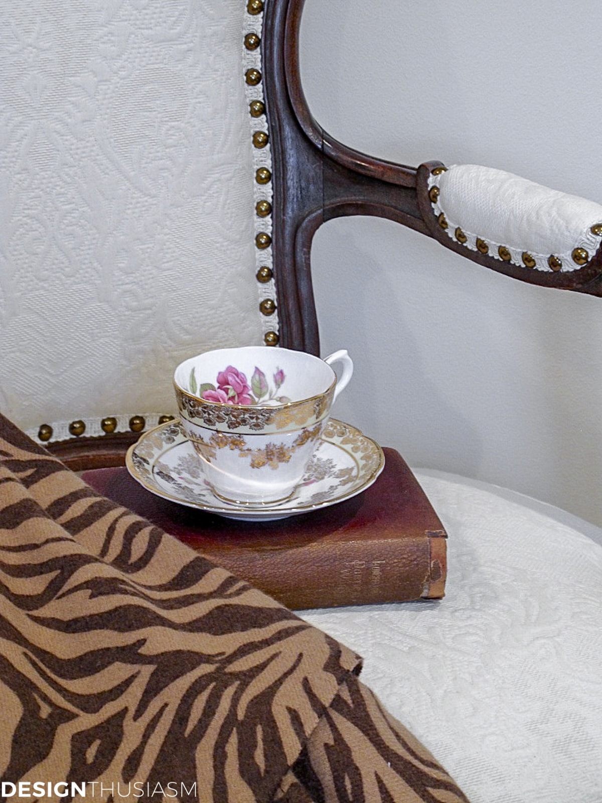 vintage French chair with teacup