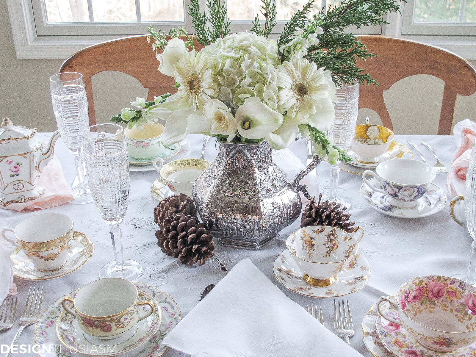 Winter Bouquet for an Afternoon Tea Party- Designthusiasm.com