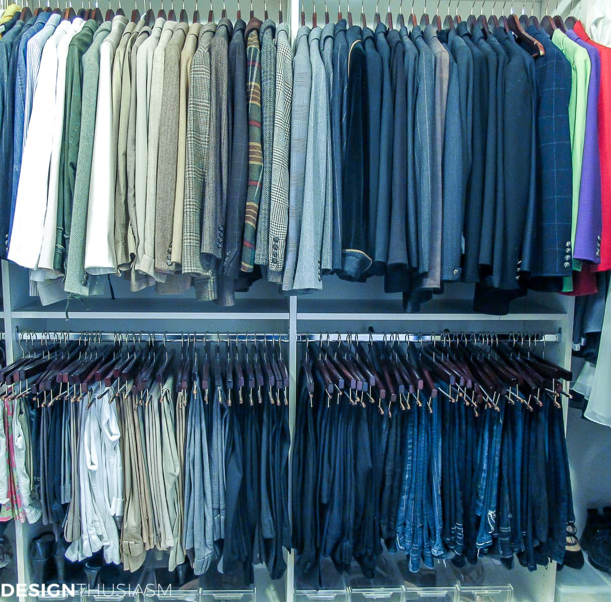 bedroom closet hanging organization