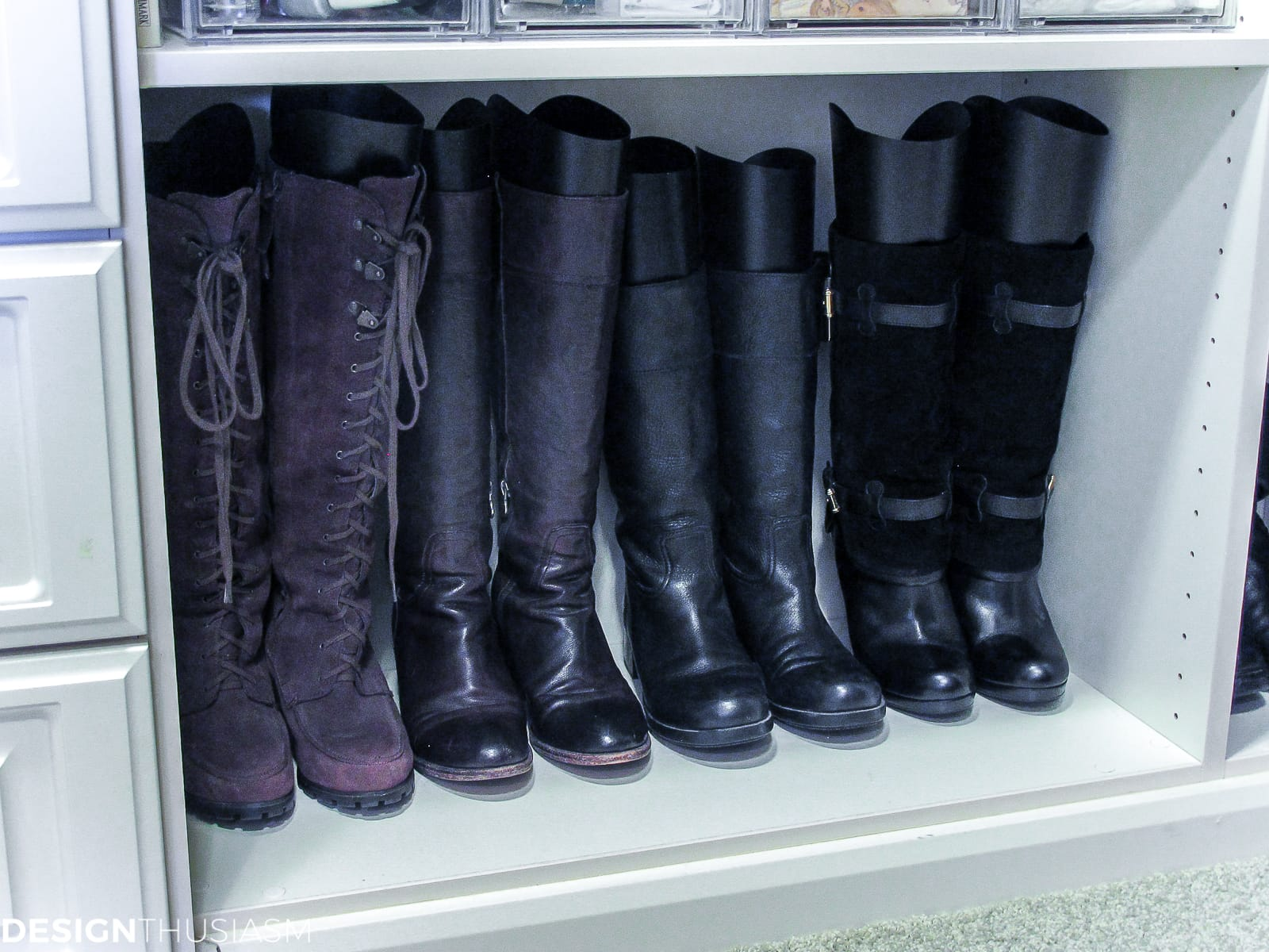 bedroom closet boot storage
