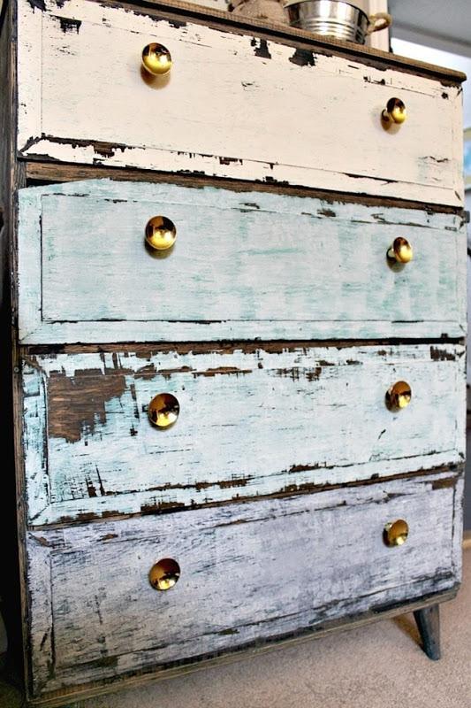 Vintage Dresser Makeover - Link Party Feature - Designthusiasm.com