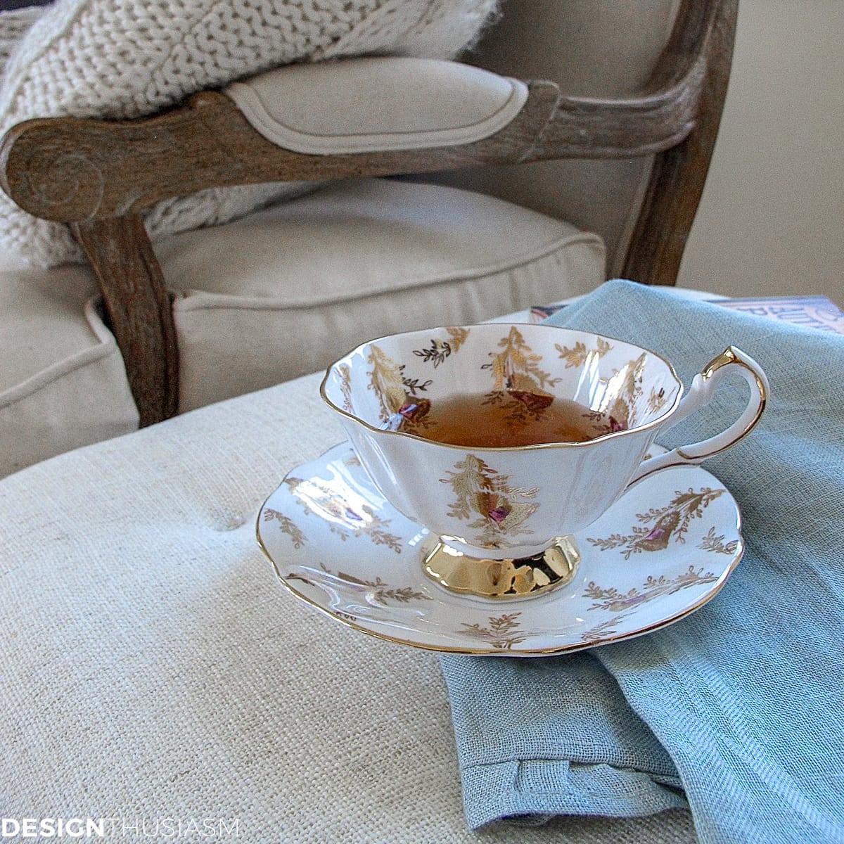 cozy winter decor teacup