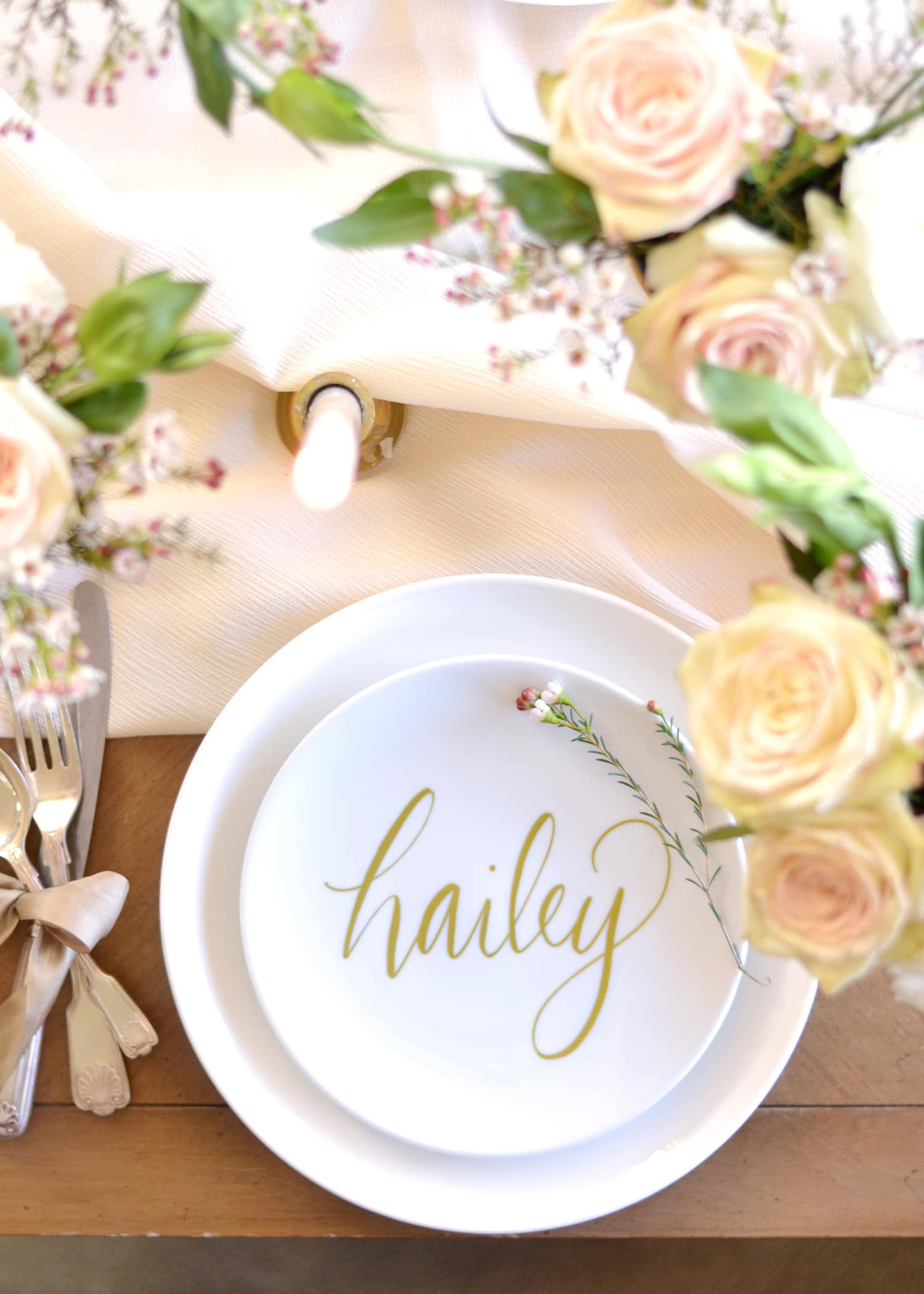 DIY Faux Calligraphy Place Setting