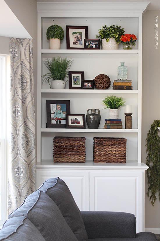 Styled Family Room Bookshelves