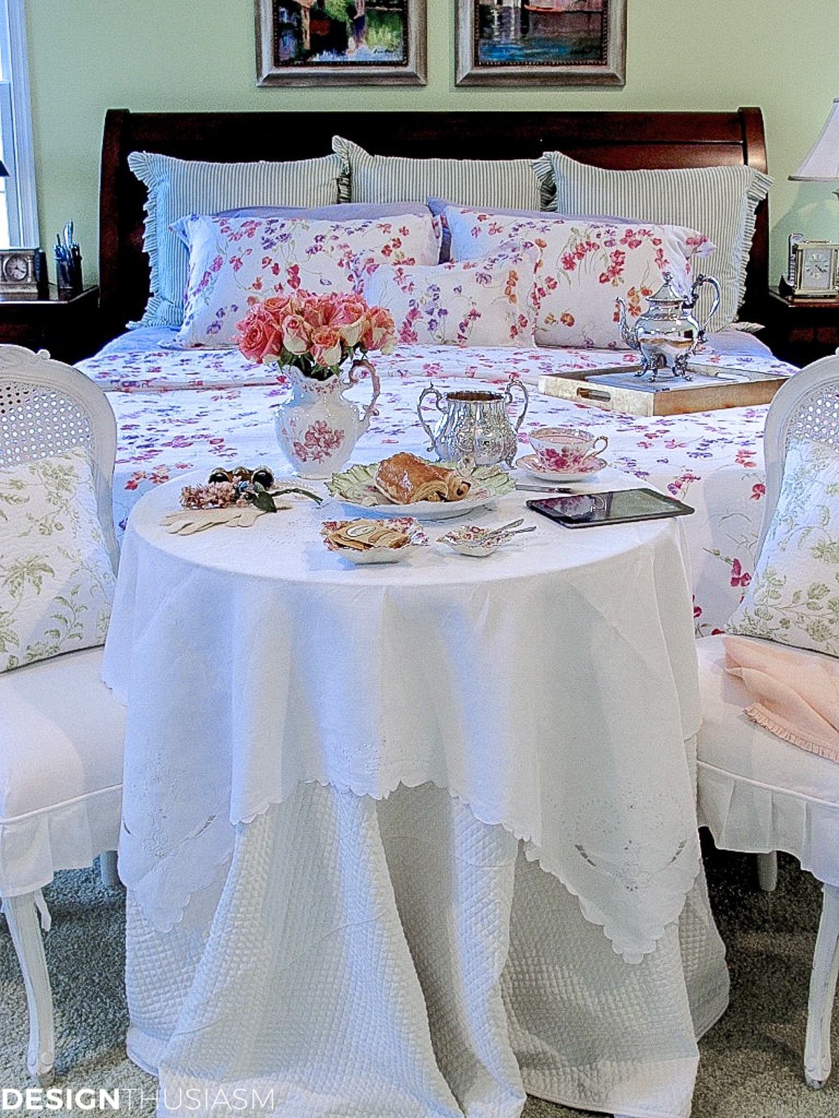master bedroom decor with a french style breakfast table