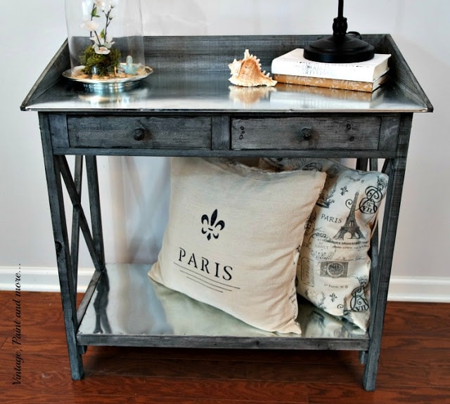 vintage potting bench used as a side table