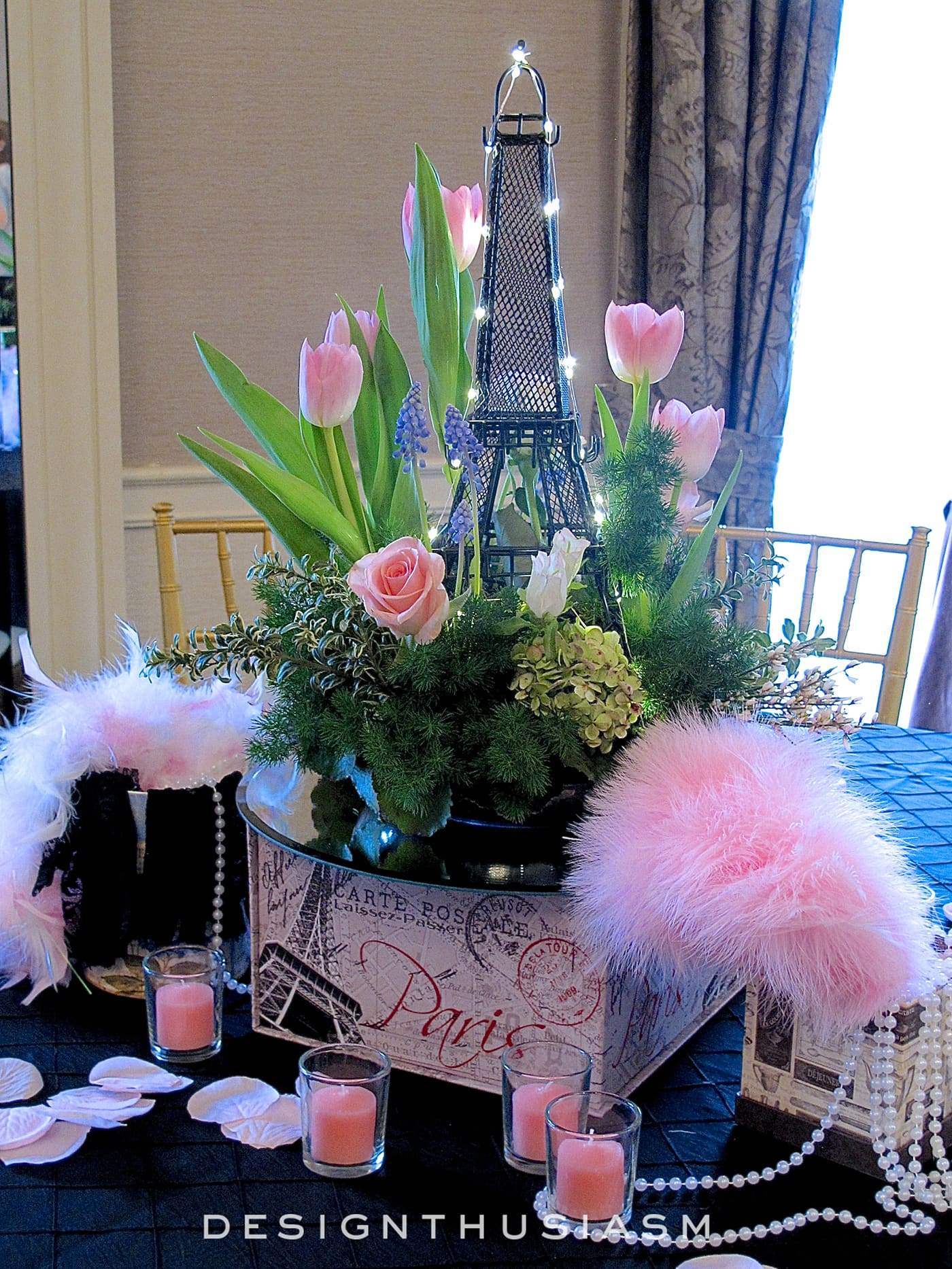 april in paris centerpieces for a spring party. Black Bedroom Furniture Sets. Home Design Ideas