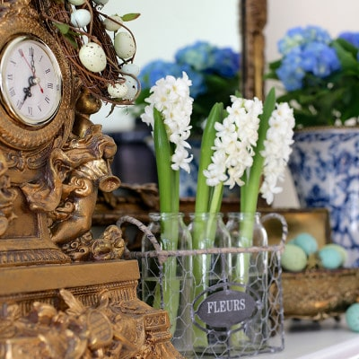 Spring Mantel in the Family Room