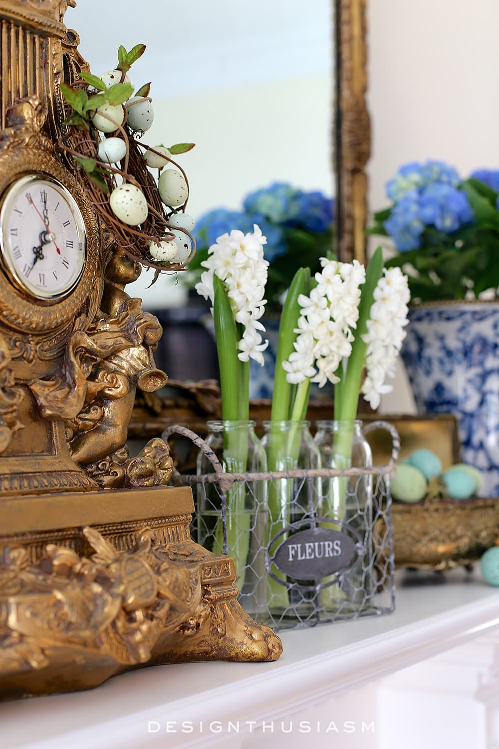Designthusiasm - Spring Mantel in the Family Room