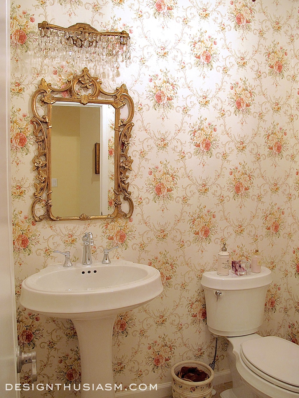 French Country Powder Room - Designthusiasm.com