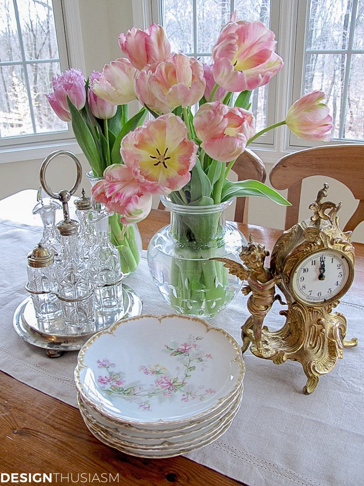 flea market finds on a french kitchen table