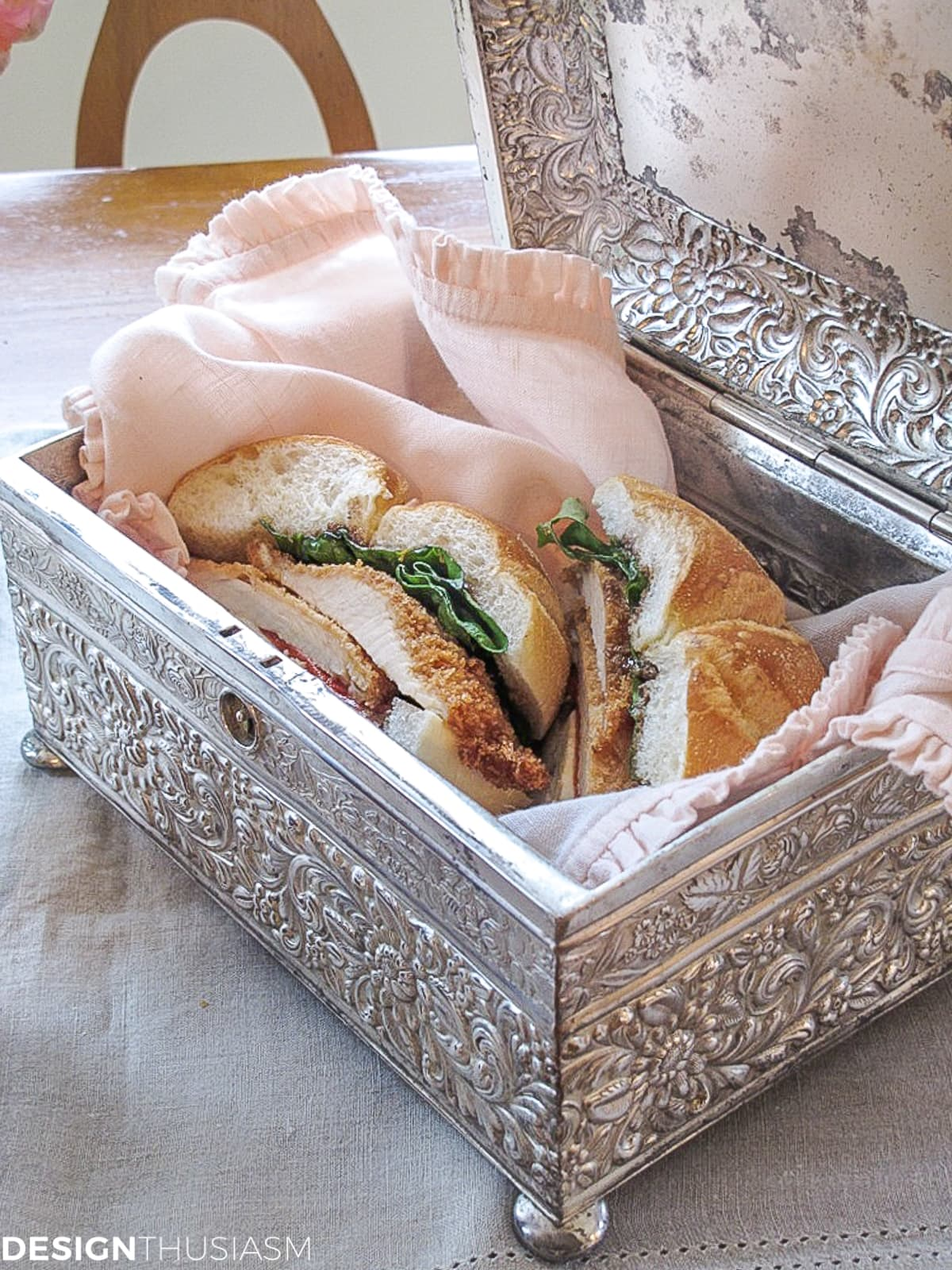 vintage silver box with sandwich in the kitchen
