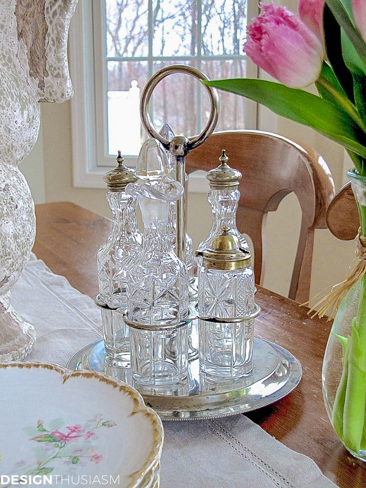 vintage cruet set in a french country kitchen