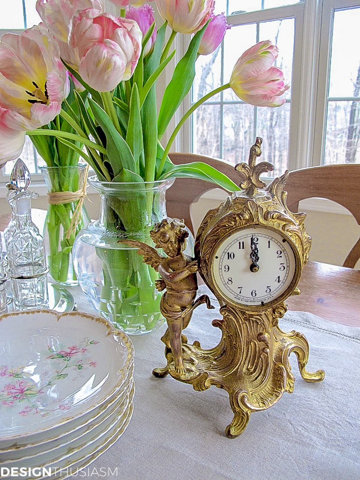 antique clock on a vintage french table