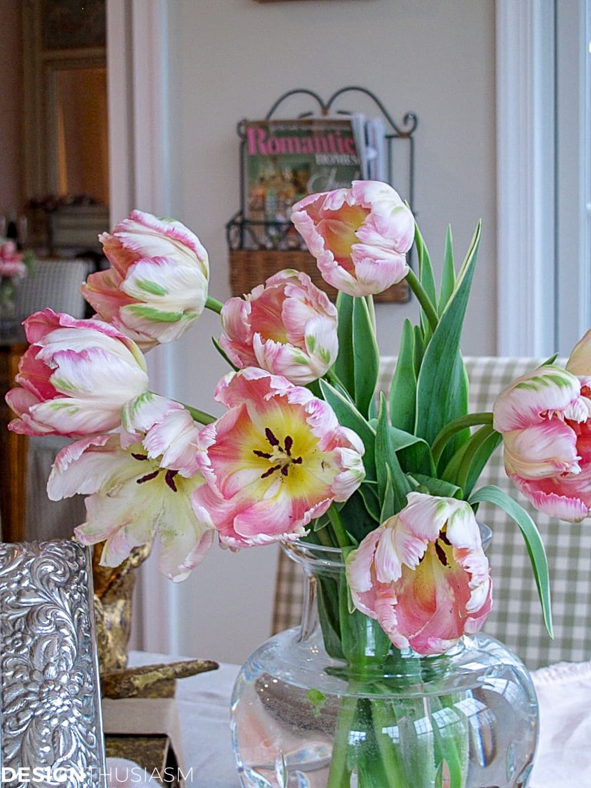 Parrot tulips on a french country kitchen table