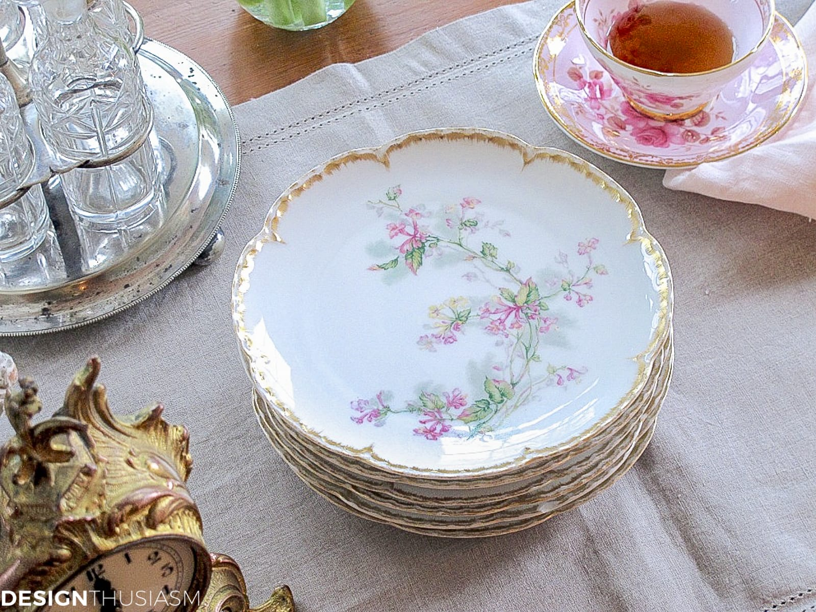 vintage limoge plates on a french kitchen table